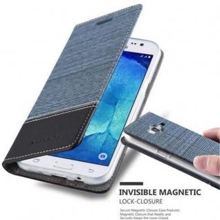 Cadorabo Hülle für Samsung Galaxy J5 2015 in DUNKEL BLAU SCHWARZ - Handyhülle mit Magnetverschluss, Standfunktion und Kartenfach - Case Cover Schutzhülle Etui Tasche Book Klapp Style