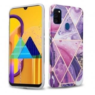 Cadorabo Hülle für Huawei P20 LITE Hülle in Lila Welle Marmor No.14 Handyhülle aus TPU Silikon mit Muster Mosaik Silikonhülle Schutzhülle Ultra Slim Back Cover Case Bumper