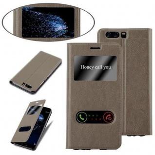 Cadorabo Hülle für Huawei P10 in STEIN BRAUN - Handyhülle mit Magnetverschluss, Standfunktion und 2 Sichtfenstern - Case Cover Schutzhülle Etui Tasche Book Klapp Style - Vorschau 4
