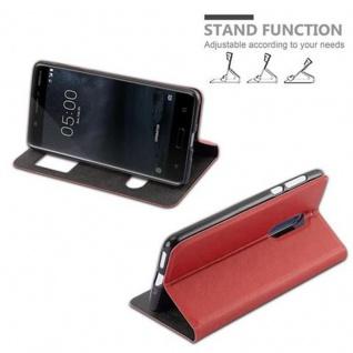 Cadorabo Hülle für Nokia 5 2017 in SAFRAN ROT - Handyhülle mit Magnetverschluss, Standfunktion und 2 Sichtfenstern - Case Cover Schutzhülle Etui Tasche Book Klapp Style - Vorschau 5