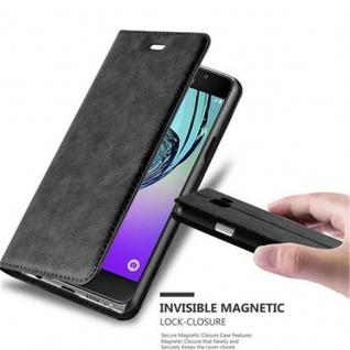 Cadorabo Hülle für Samsung Galaxy A3 2016 in NACHT SCHWARZ - Handyhülle mit Magnetverschluss, Standfunktion und Kartenfach - Case Cover Schutzhülle Etui Tasche Book Klapp Style