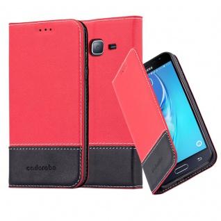 Cadorabo Hülle für Samsung Galaxy J3 / J3 DUOS 2016 in ROT SCHWARZ ? Handyhülle mit Magnetverschluss, Standfunktion und Kartenfach ? Case Cover Schutzhülle Etui Tasche Book Klapp Style