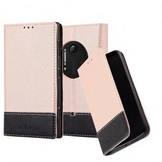Cadorabo Hülle für Nokia Lumia 1020 in ROSÉ GOLD SCHWARZ ? Handyhülle mit Magnetverschluss, Standfunktion und Kartenfach ? Case Cover Schutzhülle Etui Tasche Book Klapp Style