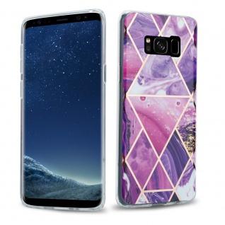 Cadorabo Hülle für Samsung Galaxy S8 Hülle in Lila Welle Marmor No.14 Handyhülle aus TPU Silikon mit Muster Mosaik Silikonhülle Schutzhülle Ultra Slim Back Cover Case Bumper