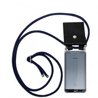 Cadorabo Handy Kette für Huawei P9 in TIEF BLAU - Silikon Necklace Umhänge Hülle mit Silber Ringen, Kordel Band Schnur und abnehmbarem Etui - Schutzhülle