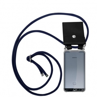 Cadorabo Handy Kette für Huawei P9 in TIEF BLAU Silikon Necklace Umhänge Hülle mit Silber Ringen, Kordel Band Schnur und abnehmbarem Etui Schutzhülle