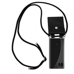 Cadorabo Handy Kette für Google Pixel 4 in SCHWARZ - Silikon Necklace Umhänge Hülle mit Silber Ringen, Kordel Band Schnur und abnehmbarem Etui - Schutzhülle