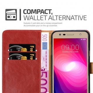 Cadorabo Hülle für LG X Power 2 in WEIN ROT - Handyhülle mit Magnetverschluss, Standfunktion und Kartenfach - Case Cover Schutzhülle Etui Tasche Book Klapp Style - Vorschau 5