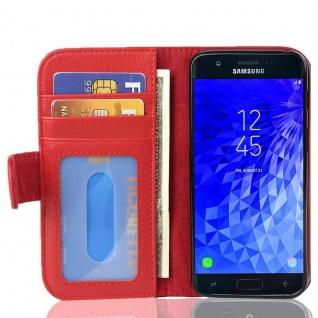 Cadorabo Hülle für Samsung Galaxy J7 2017 in INFERNO ROT - Handyhülle mit Magnetverschluss und 3 Kartenfächern - Case Cover Schutzhülle Etui Tasche Book Klapp Style