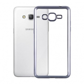 Cadorabo Hülle für Samsung Galaxy GRAND PRIME - Hülle in TRANSPARENT mit CHROM SCHWARZ ? Handyhülle aus TPU Silikon im Chrom Design - Silikonhülle Schutzhülle Ultra Slim Soft Back Cover Case Bumper - Vorschau 2