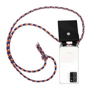 Cadorabo Handy Kette für Samsung Galaxy NOTE 20 PLUS in ORANGE BLAU WEISS Silikon Necklace Umhänge Hülle mit Silber Ringen, Kordel Band Schnur und abnehmbarem Etui Schutzhülle