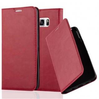 Cadorabo Hülle für Samsung Galaxy NOTE 5 in APFEL ROT - Handyhülle mit Magnetverschluss, Standfunktion und Kartenfach - Case Cover Schutzhülle Etui Tasche Book Klapp Style