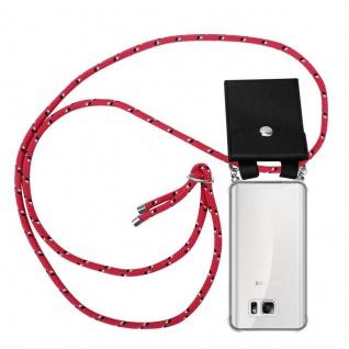 Cadorabo Handy Kette für Samsung Galaxy NOTE 5 in PINK SCHWARZ WEISS GEPUNKTET - Silikon Necklace Umhänge Hülle mit Silber Ringen, Kordel Band Schnur und abnehmbarem Etui - Schutzhülle