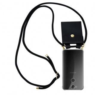 Cadorabo Handy Kette für Sony Xperia XA2 in SCHWARZ - Silikon Necklace Umhänge Hülle mit Gold Ringen, Kordel Band Schnur und abnehmbarem Etui ? Schutzhülle