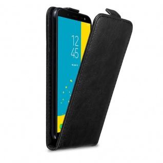 Cadorabo Hülle für Samsung Galaxy J6 2018 in NACHT SCHWARZ - Handyhülle im Flip Design mit Magnetverschluss - Case Cover Schutzhülle Etui Tasche Book Klapp Style