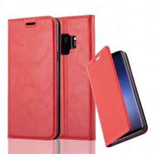 Cadorabo Hülle für Samsung Galaxy S9 in APFEL ROT - Handyhülle mit Magnetverschluss, Standfunktion und Kartenfach - Case Cover Schutzhülle Etui Tasche Book Klapp Style