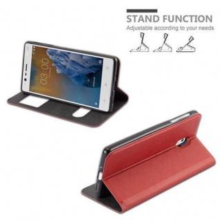 Cadorabo Hülle für Nokia 3 2017 in SAFRAN ROT - Handyhülle mit Magnetverschluss, Standfunktion und 2 Sichtfenstern - Case Cover Schutzhülle Etui Tasche Book Klapp Style - Vorschau 5