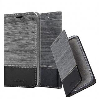 Cadorabo Hülle für Sony Xperia C4 in GRAU SCHWARZ - Handyhülle mit Magnetverschluss, Standfunktion und Kartenfach - Case Cover Schutzhülle Etui Tasche Book Klapp Style
