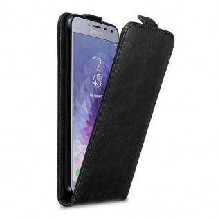 Cadorabo Hülle für Samsung Galaxy J4 2018 in NACHT SCHWARZ - Handyhülle im Flip Design mit unsichtbarem Magnetverschluss - Case Cover Schutzhülle Etui Tasche Book Klapp Style