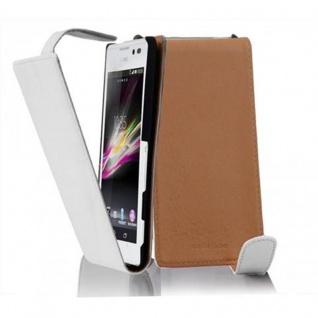 Cadorabo Hülle für Sony Xperia C in POLAR WEIß - Handyhülle im Flip Design aus glattem Kunstleder - Case Cover Schutzhülle Etui Tasche Book Klapp Style