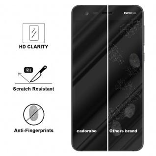 Cadorabo Vollbild Panzer Folie für Nokia 2 2017 - Schutzfolie in TRANSPARENT mit SCHWARZ - Gehärtetes (Tempered) Display-Schutzglas in 9H Härte mit 3D Touch Kompatibilität - Vorschau 3