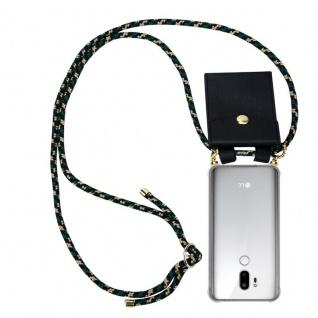 Cadorabo Handy Kette für LG G7 ThinQ in CAMOUFLAGE - Silikon Necklace Umhänge Hülle mit Gold Ringen, Kordel Band Schnur und abnehmbarem Etui ? Schutzhülle