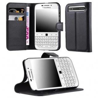 Cadorabo Hülle für Blackberry Q20 - Hülle in PHANTOM SCHWARZ ? Handyhülle mit Kartenfach und Standfunktion - Case Cover Schutzhülle Etui Tasche Book Klapp Style