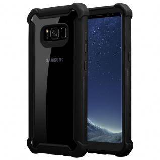 Cadorabo Hülle für Samsung Galaxy S8 in ERLEN SCHWARZ 2-in-1 Handyhülle mit TPU Silikon-Rand und Acryl-Glas-Rücken Schutzhülle Hybrid Hardcase Back Case