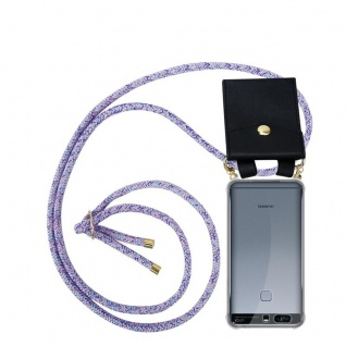 Cadorabo Handy Kette für Huawei P9 PLUS in UNICORN Silikon Necklace Umhänge Hülle mit Gold Ringen, Kordel Band Schnur und abnehmbarem Etui Schutzhülle