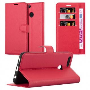 Cadorabo Hülle für Honor 7X in KARMIN ROT - Handyhülle mit Magnetverschluss, Standfunktion und Kartenfach - Case Cover Schutzhülle Etui Tasche Book Klapp Style