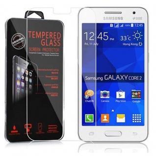 Cadorabo Panzerglas für Samsung Galaxy CORE 2 - Schutzfolie in KRISTALL KLAR ? Gehärtetes (Tempered) Display-Schutzglas in 9H Härte mit 3D Touch Kompatibilität