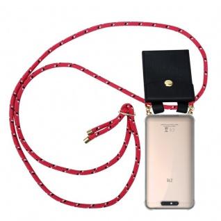 Cadorabo Handy Kette für ZTE Blade V8 in PINK SCHWARZ WEISS GEPUNKTET - Silikon Necklace Umhänge Hülle mit Gold Ringen, Kordel Band Schnur und abnehmbarem Etui ? Schutzhülle