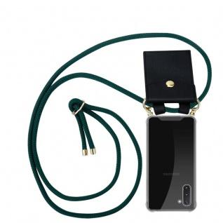 Cadorabo Handy Kette für Samsung Galaxy NOTE 10 in ARMEE GRÜN - Silikon Necklace Umhänge Hülle mit Gold Ringen, Kordel Band Schnur und abnehmbarem Etui ? Schutzhülle