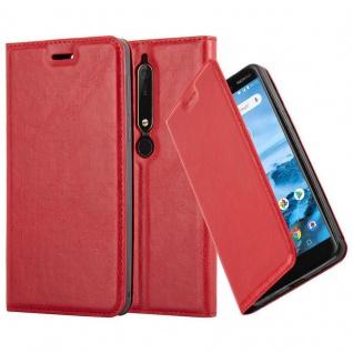 Cadorabo Hülle für Nokia 6.1 2018 in APFEL ROT - Handyhülle mit Magnetverschluss, Standfunktion und Kartenfach - Case Cover Schutzhülle Etui Tasche Book Klapp Style