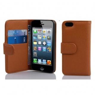 Cadorabo Hülle für Apple iPhone 5 / iPhone 5S / iPhone SE in COGNAC BRAUN ? Handyhülle aus strukturiertem Kunstleder mit Standfunktion und Kartenfach ? Case Cover Schutzhülle Etui Tasche Book Klapp Style