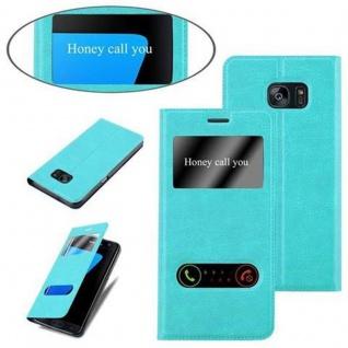 Cadorabo Hülle für Samsung Galaxy S7 EDGE in MINT TÜRKIS ? Handyhülle mit Magnetverschluss, Standfunktion und 2 Sichtfenstern ? Case Cover Schutzhülle Etui Tasche Book Klapp Style - Vorschau 4