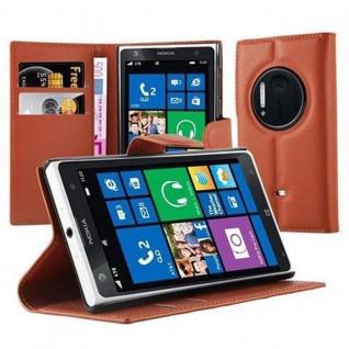 Cadorabo Hülle für Nokia Lumia 1020 in SCHOKO BRAUN - Handyhülle mit Magnetverschluss, Standfunktion und Kartenfach - Case Cover Schutzhülle Etui Tasche Book Klapp Style