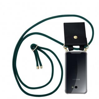Cadorabo Handy Kette für Samsung Galaxy J4 PLUS in ARMEE GRÜN Silikon Necklace Umhänge Hülle mit Gold Ringen, Kordel Band Schnur und abnehmbarem Etui Schutzhülle