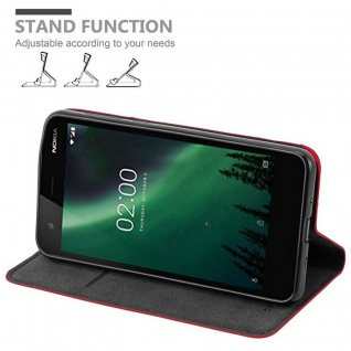 Cadorabo Hülle für Nokia 2 2017 in APFEL ROT - Handyhülle mit Magnetverschluss, Standfunktion und Kartenfach - Case Cover Schutzhülle Etui Tasche Book Klapp Style - Vorschau 4