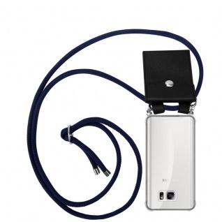 Cadorabo Handy Kette für Samsung Galaxy NOTE 5 in TIEF BLAU Silikon Necklace Umhänge Hülle mit Silber Ringen, Kordel Band Schnur und abnehmbarem Etui Schutzhülle