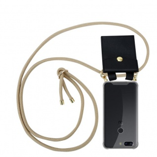 Cadorabo Handy Kette für OnePlus 5T in GLÄNZEND BRAUN - Silikon Necklace Umhänge Hülle mit Gold Ringen, Kordel Band Schnur und abnehmbarem Etui ? Schutzhülle