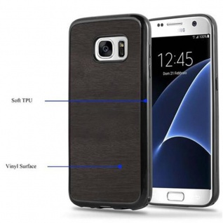 Cadorabo Hülle für Samsung Galaxy S7 in WOODEN SCHWARZ ? Handyhülle aus flexiblem TPU Silikon ? Silikonhülle Schutzhülle Ultra Slim Soft Back Cover Case Bumper - Vorschau 4