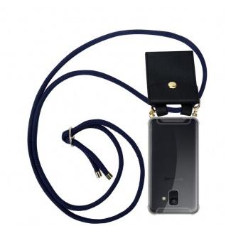 Cadorabo Handy Kette für Samsung Galaxy A6 2018 in TIEF BLAU - Silikon Necklace Umhänge Hülle mit Gold Ringen, Kordel Band Schnur und abnehmbarem Etui ? Schutzhülle