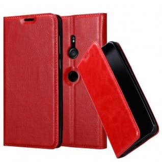 Cadorabo Hülle für Sony Xperia XZ3 in APFEL ROT - Handyhülle mit Magnetverschluss, Standfunktion und Kartenfach - Case Cover Schutzhülle Etui Tasche Book Klapp Style