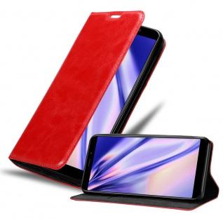 Cadorabo Hülle für MEIZU M6S in APFEL ROT Handyhülle mit Magnetverschluss, Standfunktion und Kartenfach Case Cover Schutzhülle Etui Tasche Book Klapp Style