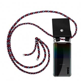 Cadorabo Handy Kette für Samsung Galaxy A90 5G in ROT BLAU WEISS Silikon Necklace Umhänge Hülle mit Silber Ringen, Kordel Band Schnur und abnehmbarem Etui Schutzhülle
