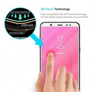 Cadorabo Vollbild Panzer Folie für Samsung Galaxy J8 2018 - Schutzfolie in TRANSPARENT mit WEISS - Gehärtetes (Tempered) Display-Schutzglas in 9H Härte mit 3D Touch Kompatibilität - Vorschau 5