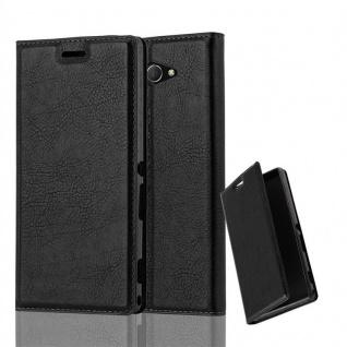 Cadorabo Hülle für Sony Xperia M2 AQUA in NACHT SCHWARZ - Handyhülle mit Magnetverschluss, Standfunktion und Kartenfach - Case Cover Schutzhülle Etui Tasche Book Klapp Style
