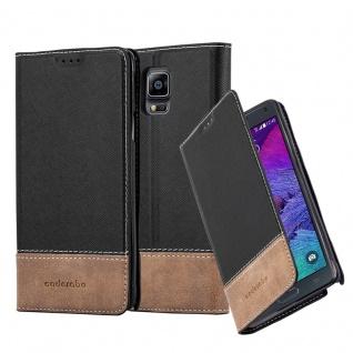 Cadorabo Hülle für Samsung Galaxy NOTE 4 in SCHWARZ BRAUN ? Handyhülle mit Magnetverschluss, Standfunktion und Kartenfach ? Case Cover Schutzhülle Etui Tasche Book Klapp Style