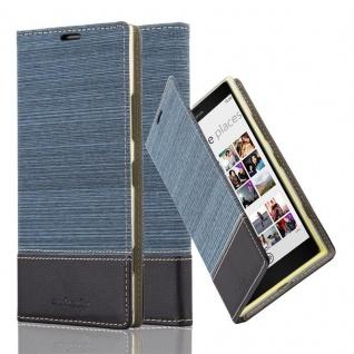 Cadorabo Hülle für Nokia Lumia 1520 - Hülle in DUNKEL BLAU SCHWARZ ? Handyhülle mit Standfunktion und Kartenfach im Stoff Design - Case Cover Schutzhülle Etui Tasche Book
